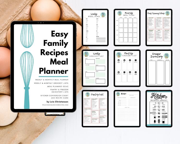 meal planner  printer friendly version
